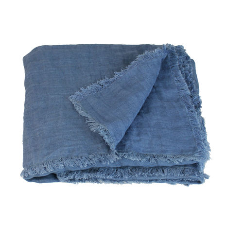 DOUBLE throw or table cover in linen- dual woven fabric -Blue